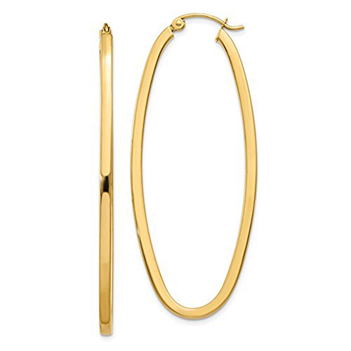 Large 14K Yellow Gold Oval Hoop Earrings w/Square Tube, 2 In (52mm) (2mm Tube) ()