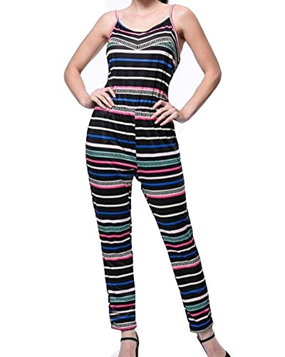 Women Plus Size Spaghetti Strap Stripe Long Romper Clubwear Jumpsuits (Plus Size Rompers)