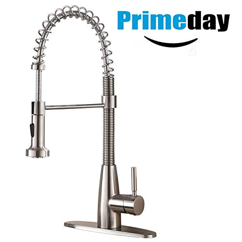 Pull Down Faucet - VESLA HOME Commercial Single Handle Pull Down Out Sprayer Spring Stainless Steel Kitchen Faucet, Brushed Nickel Kitchen Sink Faucet