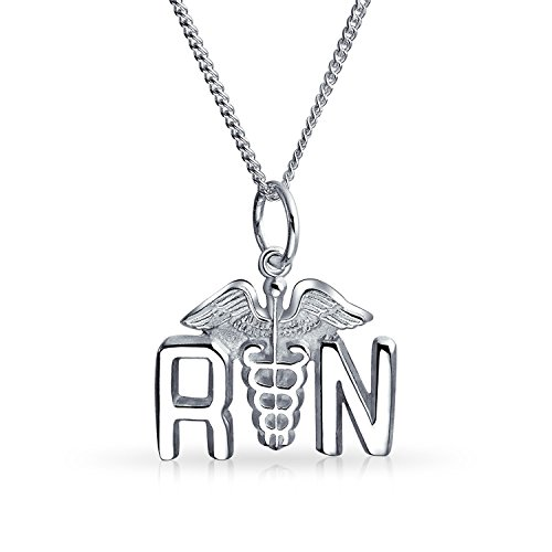 (Rn Registered Nurse Caduceus Pendant Charm 925 Sterling Silver Necklace For Women 16 Inch Chain)