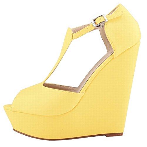 Donna Giallo gelb matt Tacco Scarpe Eks Con Otq4Rwg