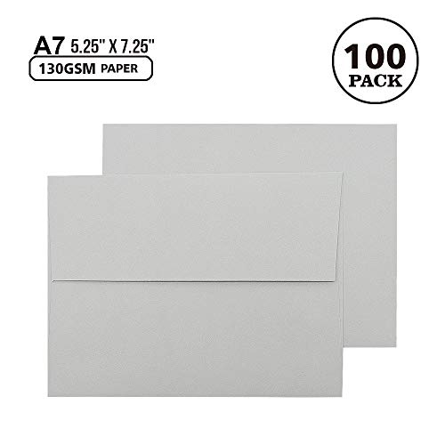 Square Square Flap - A7 Gray Invitation 5x7 Envelopes - Self Seal, Square Flap,Perfect for 5x7 Cards, Weddings, Birthday, Invitations, Graduation, Baby Shower, 5.25 x 7.25 Inches, 100 Pack, (Gray)