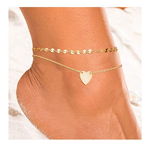 ForeveRing Z Layer Anklet Disc Chain Anklet Lover Heart Jewelry for Women