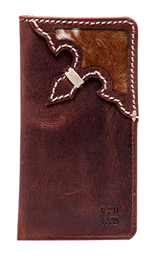 RAWHYD Western Full Grain Leather Long Bifold Rodeo Wallet For Men | Perfect Checkbook Cover | Tall Cowboy Wallet ()