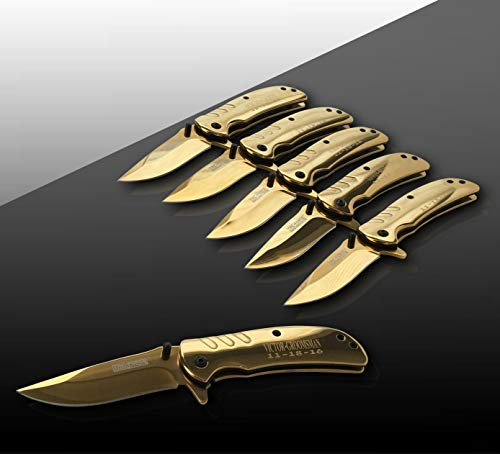 Eternity Engraving 6 Engraved Pocket Knifes, 6 Folding Pocket Knives Gift Set Personalized for Men and Women, Customized Knife Gift (Gold) by Eternity Engraving (Image #9)