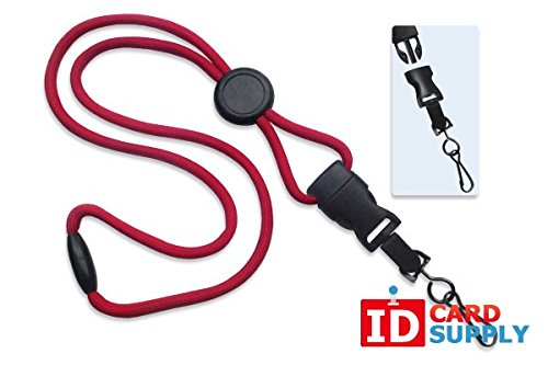 100 - Red Lanyards with Breakaway 1/4 (6mm) Strap and DTACH Swivel Hook ending [ 2135-4576 ] -