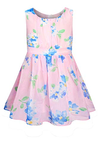 SPEINY Little Girls Pleated Floral Print A-Line Skirts Dresses Pink 6-12 Months