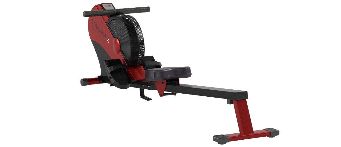 Stamina ATS Air Rower | Rowing Machine | LCD Monitor | Dynamic Air Resistance | Folding Design | Tone Muscle and Improve Heart Health (Red/Black) by Stamina
