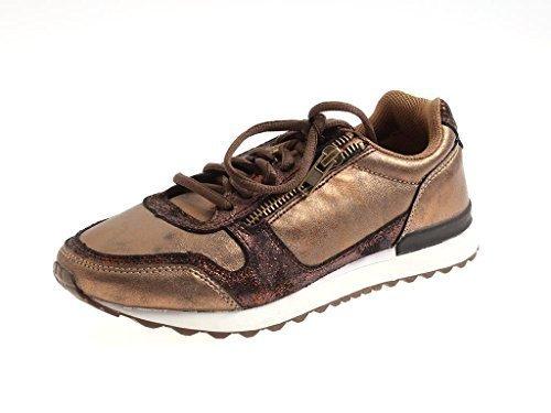 Rushour trendige Sneaker bronze Schnürschuhe Schnürer glänzend Bronze