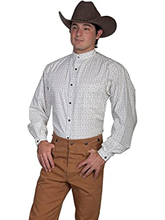 Victorian Men's Shirts- Wingtip, Gambler, Bib, Collarless Paisley Print Shirt $44.06 AT vintagedancer.com