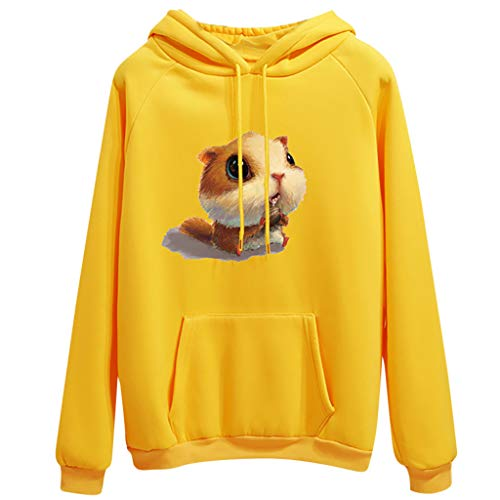 Womens Casual Long Sleeve Hoodie Sweatshirt Velvet Blouse Pullover Squirrel Tops Yellow