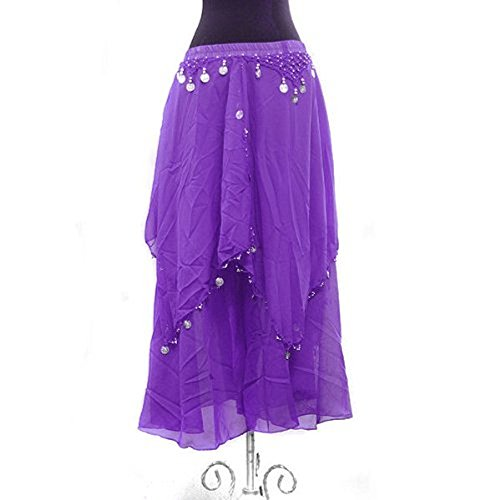 Performance Belly Dance Long Chiffon Coined Layer Tier Skirt - PURPLE (Flamenco Dance Costumes For Girls)