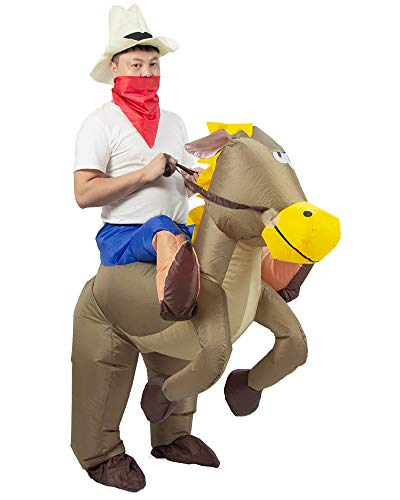 JYZCOS Inflatable Cowboy Costume Western Fancy Dress for Men Women Halloween Party Suit (Adult -