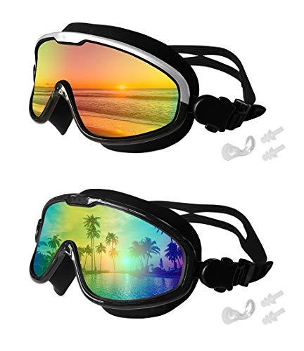 Motoeye - anteojos de natación (2 unidades, lente de espejo grande, sin fugas, anteojos de natación para adultos, hombres,...