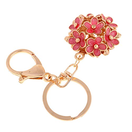 NATFUR Beautiful Fashion Cute Flower Shaped Key Chain Handbag Keychain Car Hey Ring Elegant Pretty Key-Chain for Women for Men Holder for Gift Novelty | Color - Red (Furniture Phoenix Oregon)