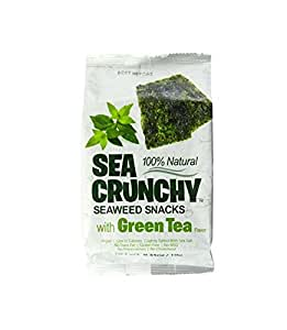Sea Crunchy Roasted Seaweed Snack with Green Tea Flavor (Pack of 24)