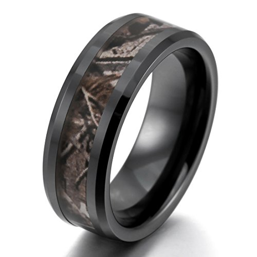 INBLUE Men's 8mm Ceramic Ring Black Brown Hunting Camo Camouflage Comfort Fit Band Wedding Size10 (Camouflage Ring)