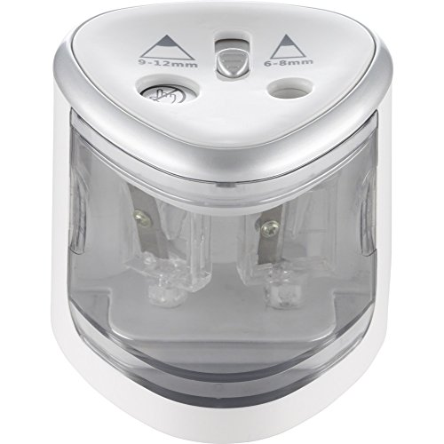 Alassio Spitzmaschine DOUBLE Electric Elektrischer Anspitzer für Standard und Jumbo Stifte silber weiß 70519
