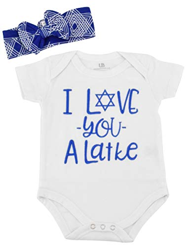 Unique Baby Girls I Love You Latke Hanukkah Layette Outfit Headband (6 Months) ()