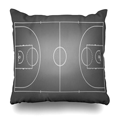 Throw Pillow Training (VivYES Throw Pillow Covers Court Line Black Basketball Top View Sports Baseball Recreation Training Street Above Area Zippered Pillowcases Square Size 18