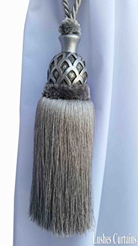 1 Luxury Handmade Silver Color w/Wood Single Tassel Rope Tie Back Window Treatment Curtain Drapery Vintage Look 2 Spread Cord Holdback Decor Tieback/Pull Back by Lushes Curtains (Image #4)