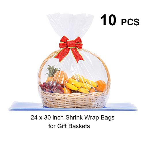 LazyMe Basket Cellophane Shrink Bags, 24x30 inch, Shrink Wrap Bags Large, Clear (Clear, 10)