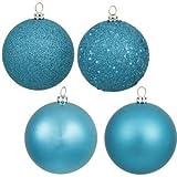 Vickerman 4'' Turquoise 4 Finish Ball Ornament 12 per Box