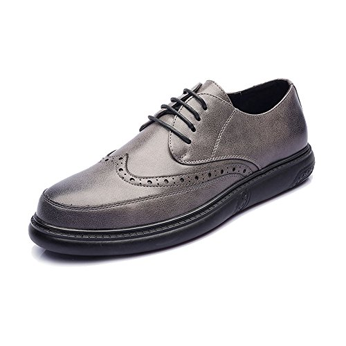 Sunny&Baby Men's PU Leather Shoes Lace up Loafers Classic Carved Design Outsole Oxfords Abrasion Resistant (Color : Gray, Size : 9.5MUS) ()