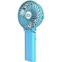 Small Handheld Fan,HandFan USB Rechargeable Fan mini Portable Fan Power Personal Fan Collapsible Electric Fan Desk Fan with 4000mA Mobile Battery for Stroller Camping Tent Dorm Office(blue)