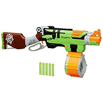 Nerf Zombie Strike SlingFire Blaster Rifle Gun With 25 Dart Drum And 31  Darts Exclusive Limited