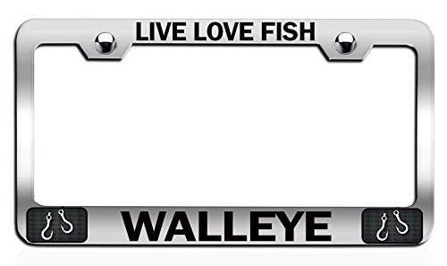 Makoroni - LIVE LOVE FISH WALLEYE Fishing Fisherman Chrome Steel Auto SUV License Plate Frame, License Tag Holder (Replica Fish Walleye)
