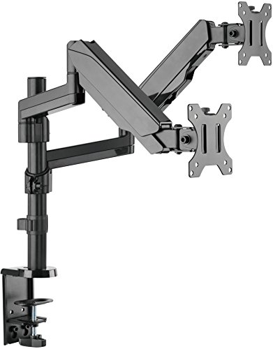 Mindful Design Dual Arm Monitor Mount - Heavy Duty Gas Spring Monitor Stand, Fits Screen Sizes 17'' to 32'' (Black) by Mindful Design (Image #7)