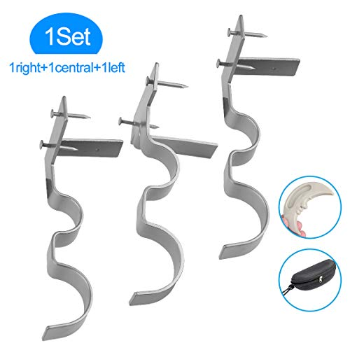 Yoaokiy Curtain Rod Holders, 3Pcs, Double Curtain Rod Brackets Tap Right Into Window Frame(Silver)