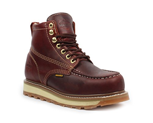 Bonanza Boots Goodyear Mens 6 Premium Leather Industrial Moc Work Boot Slip-Resistant Welt Construction Burgundy ivCg3V9