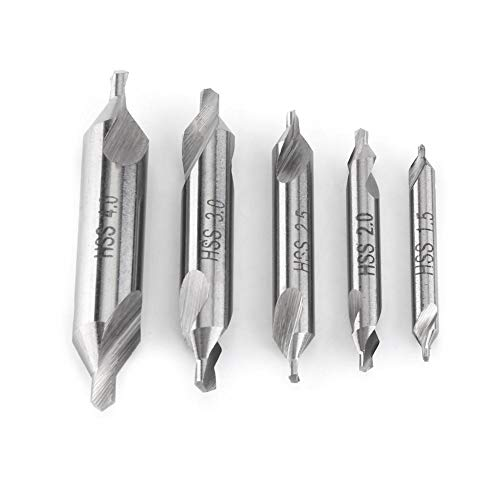 (Center Drill Bit ,5pcs High Speed Steel Center Drill Bits Set 60 Degree Angle 1.5/2/2.5/3/4mm Stainless Lathe Mill Combined Centre Drill Countersink for)