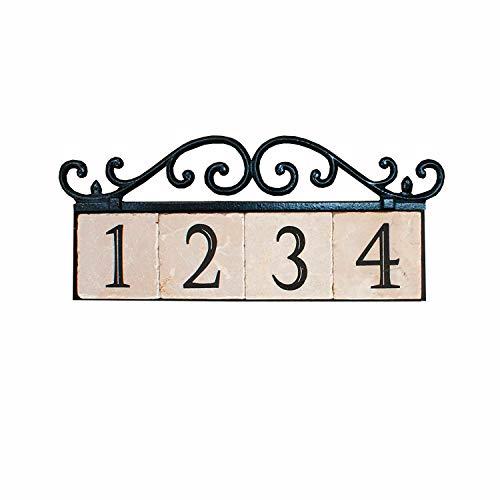 NACH KA House Address Sign/Plaque - Old World, 4 Numbers, Iron, 17 x 8 x 1