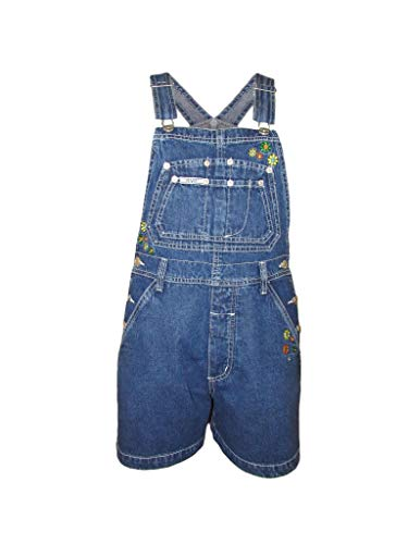Embroidered Blue Overalls - Revolt Women Embroidered Flower Blue Jeans Bib Overall Shorts Jumpsuit Casual Wear (S)