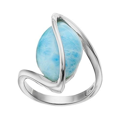 Sterling Silver Oval Larimar Twisted Ring (Size 7)