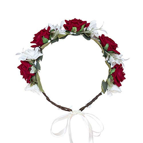 Wreath Headpiece - Vivivalue Boho Flower Crown Rose Flower Headband Hair Wreath Floral Headpiece Halo with Ribbon Wedding Party Photos Festival Red and White