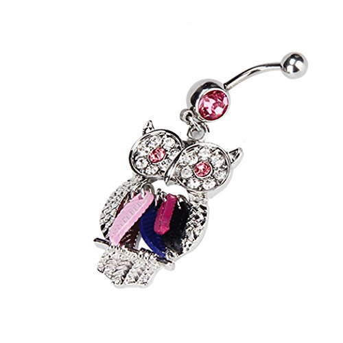 l Dangle Button Barbell Belly Navel Ring Bar Body Piercing Jewelry (Hot Pink) (Inspired Belly Ring)