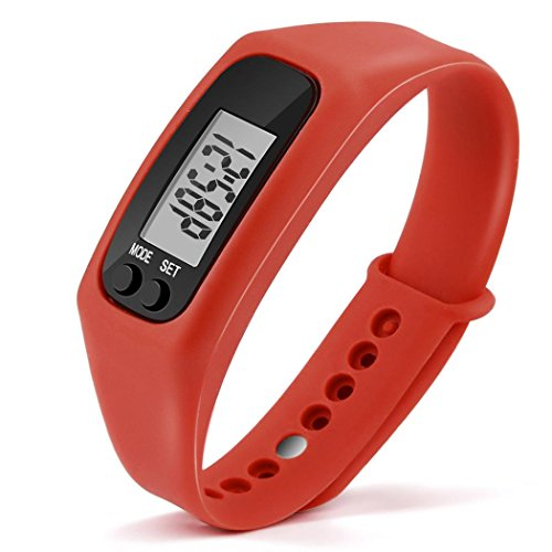 Gotd Sport Digital Silica Gel Bracelet Pedometer for Women Men Kids Boy Girl Casual Wholesale Luxury Fashion Calorie Counter Digital LCD Walking Distance Run Step Watch (Red)