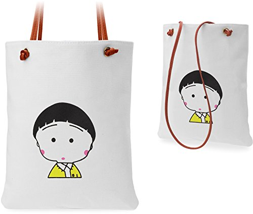 Pratica Shopping Bag Donna Borsa In Cotone Borsa Di Lino Con Cinturini In Pelle Ragazza - Motiv