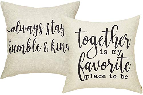 Foozoup Rustic Together is My Favorite Place to Be Farmhouse Décor Always Stay Humble and Kind Lifestyle Sign Cotton Linen Throw Pillow Case Cushion Cover with Words for Sofa Couch 18 x 18 in