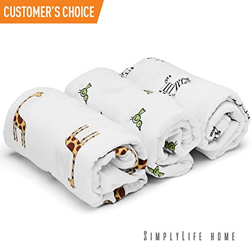 SimplyLife Home Swaddle Blankets Baby Wrap, Soft Breathable Muslin Cotton, Adjustable Infant Swaddles, Perfect for Receiving, Swaddling Newborn Boys, Nursing or Stroller Cover, Burp Cloth ()