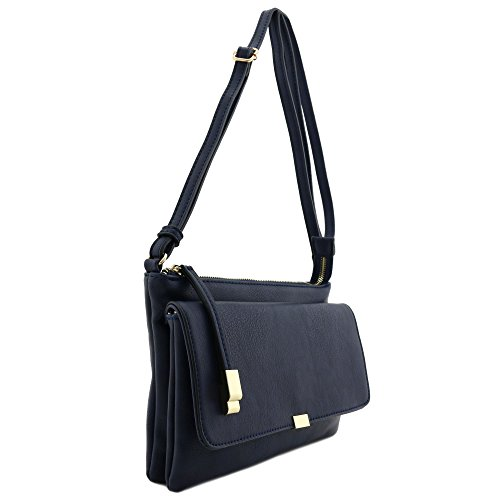 Navy Bag Flap Crossbody Half Top Zip qRYZXYUw