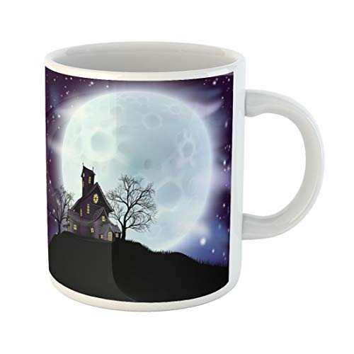 (Semtomn Funny Coffee Mug Purple of Scary Halloween Haunted House in Silhouette Spooky 11 Oz Ceramic Coffee Mugs Tea Cup Best Gift Or Souvenir)