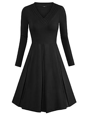 Laksmi Womens Solid V Neck Long Sleeve Empire Waist Pleated Loose Casual Midi Dress