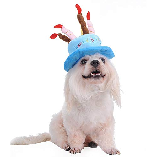 Cute Hat Pet Cap Birthday Party Hat With Happy Birthday Candles For Dogs Cats Pet Hat Birthday Party Christmas Entertainment Prop Baby's Birthday Party, Theme Party,Fancy Dress Ball (Blue, One Size)