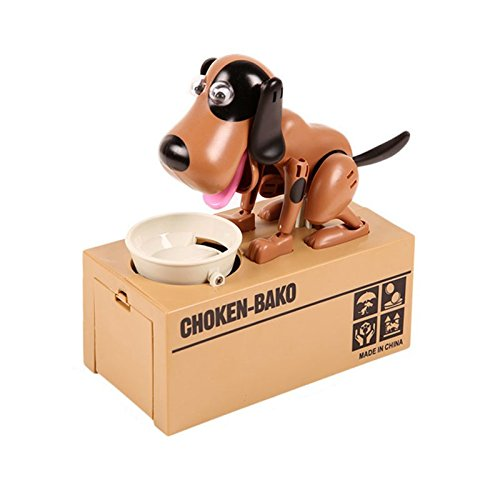 Sizet Mechanical save Adorable Robotic Hungry Dog Saving Bank Coin Gift Box (Puppy Coin Bank)