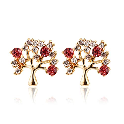 Gold Plated 18K AAA Cubic Zirconia Red Diamonds Snowflake Tree Charm Studs Lucky Cash Cow Trees Stud Earring